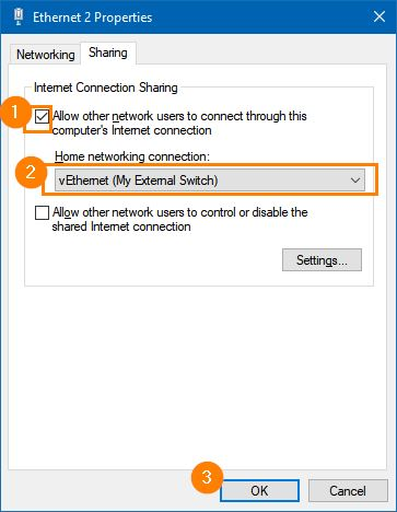 windows network adapter properties internet connection sharing